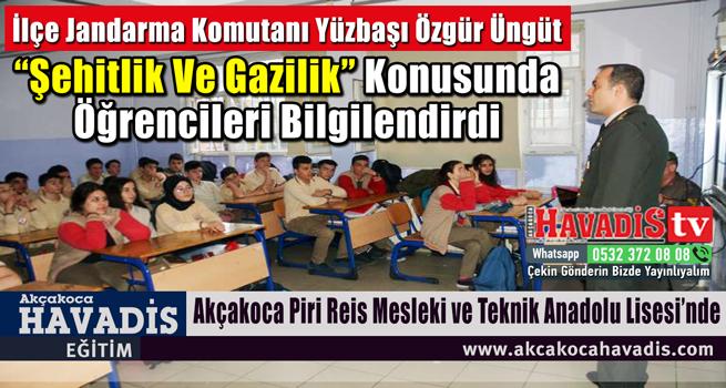 """İlçe Jandarma Komutanı Yzb. Özgür ÜNGÜT'den """"ŞEHİTLİK VE GAZİLİK"""" Sunumu"""