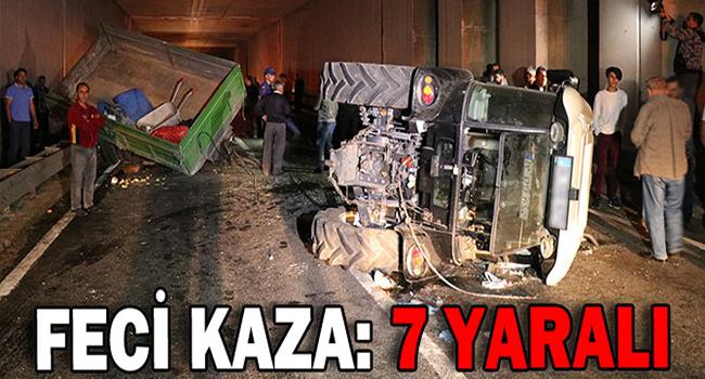 Otomobil Traktöre Çarptı.. 7 Yaralı…