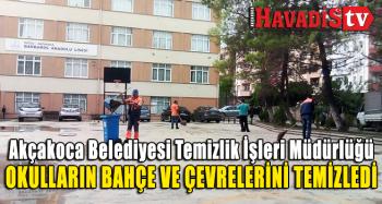 Akçakoca Belediyesi Temizlik İşleri Müdürlüğü Okul Bahçe ve Çevrelerini Temizledi