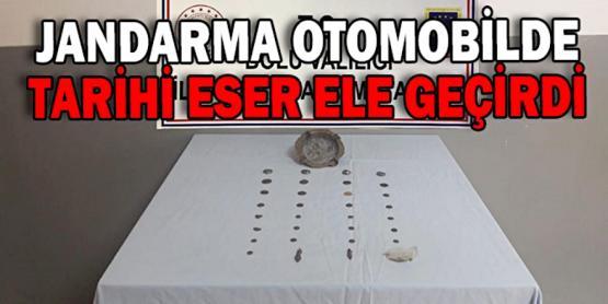 OTOMOBİLDE TARİHİ ESER ELE GEÇİRİLDİ