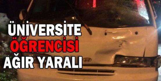 Minibüs Çarptı Kaçtı. Üniversite Öğrencisi Ağır Yaralı