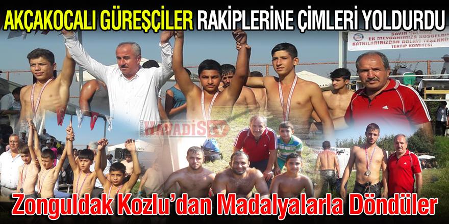 Akçakocalı Güreşçiler Kozludan Madalyalarla Döndüler