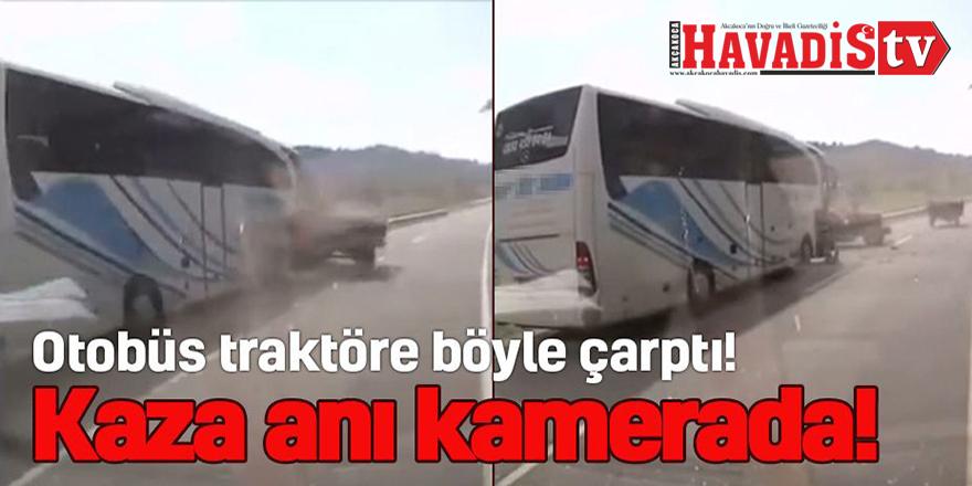 Kaza anı araç kamerası ile görüntülendi