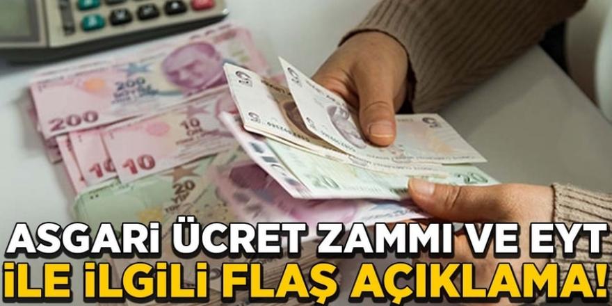 Asgari ücret 2020 zammı ve EYT'yle ilgili flaş açıklama!