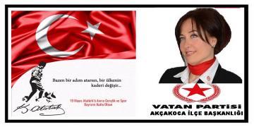 Vatan Partisi'nden 19 Mayıs Atatürk'ü Anma, Gençlik ve Spor Bayramı Kutlama mesajı