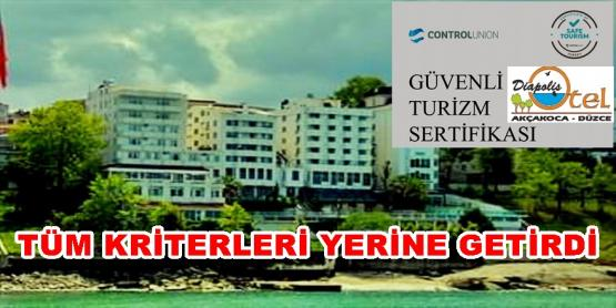 "DİAPOLİS OTEL'E ""GÜVENLİ HİZMET SERTİFİKASI"""